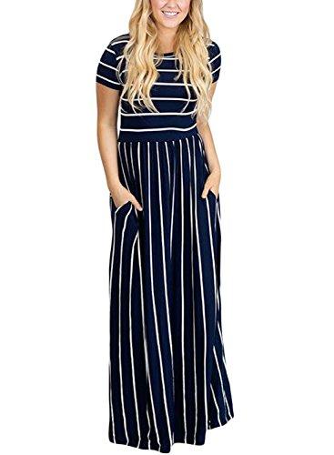 bd23ca63ef6 HOTAPEI Women s Summer Casual Loose Striped Long Dress Short Sleeve Pocket  Maxi Dress Navy Blue