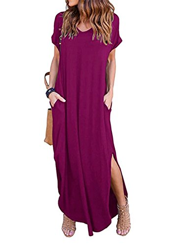 dc117012f50 HUSKARY Women s Casual Pocket Beach Long Dress Short Sleeve Split Loose Maxi  Dress Large