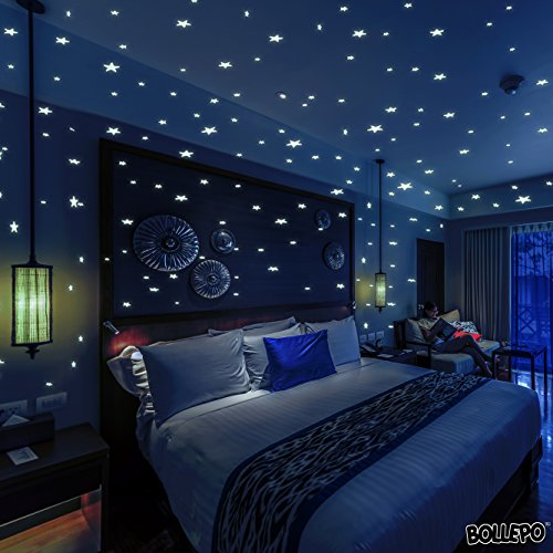 Glow In The Dark Stars Wall Stickers, 332 Adhesive Realistic 3D Stars And Dots For Starry Sky