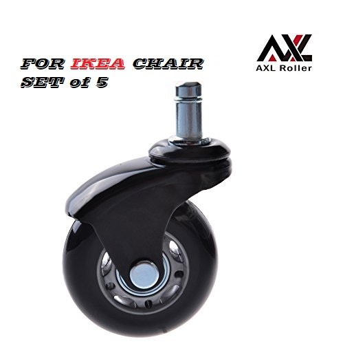 AXL 2.5u2033 Office Chair Caster Wheel Replacement For IKEA Rollerblade Wheels  Heavy Duty Casters For Hardwood Floors Safe, Set Of 5 AR IK 0250006B GRYB