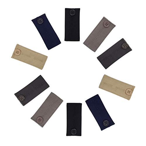 15-Piece Color Variety Pack - Strong Adjustable Pants Button Extenders in Black White and Khaki by Comfy Clothiers Elastic Waist Extenders